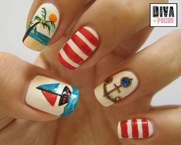 29 beach nail art - 30+ Beach Themed Nail Art Designs