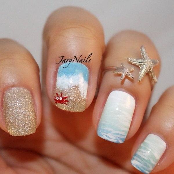 5 beach nail art - 30+ Beach Themed Nail Art Designs