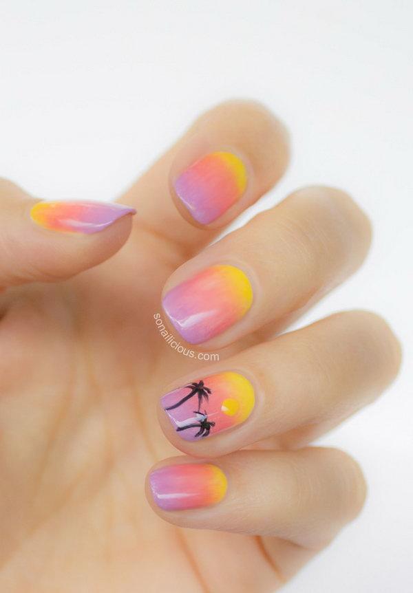 8 beach nail art - 30+ Beach Themed Nail Art Designs