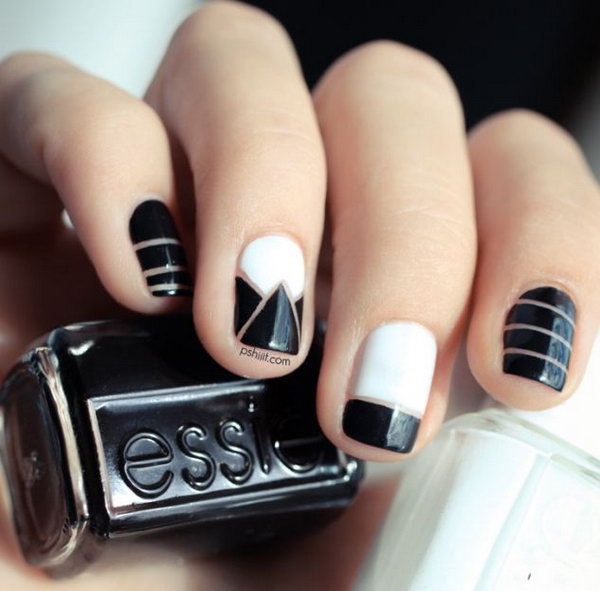 1 black and white nail art - Black and White Nail Art Designs – Perfect Match For Any Parties