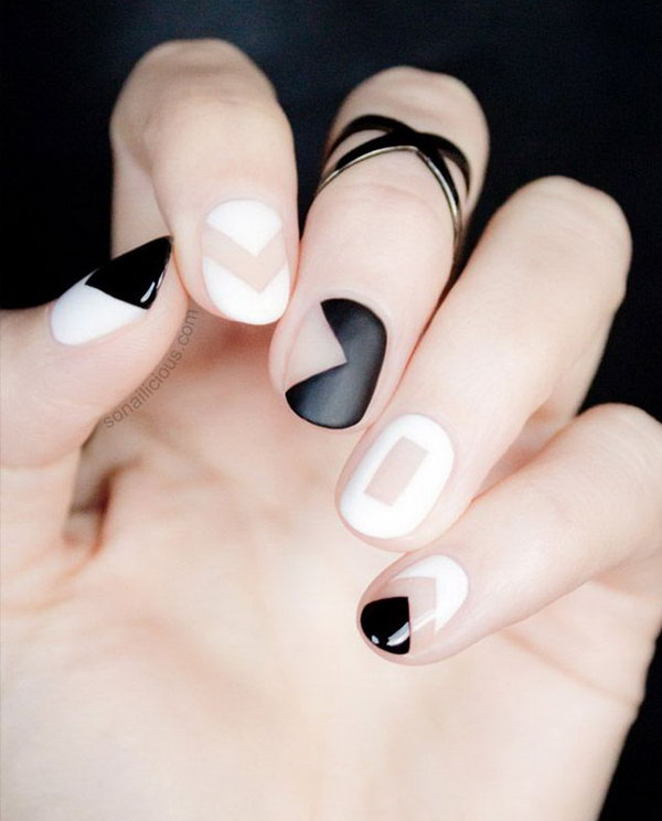 11 black and white nail art - Black and White Nail Art Designs – Perfect Match For Any Parties