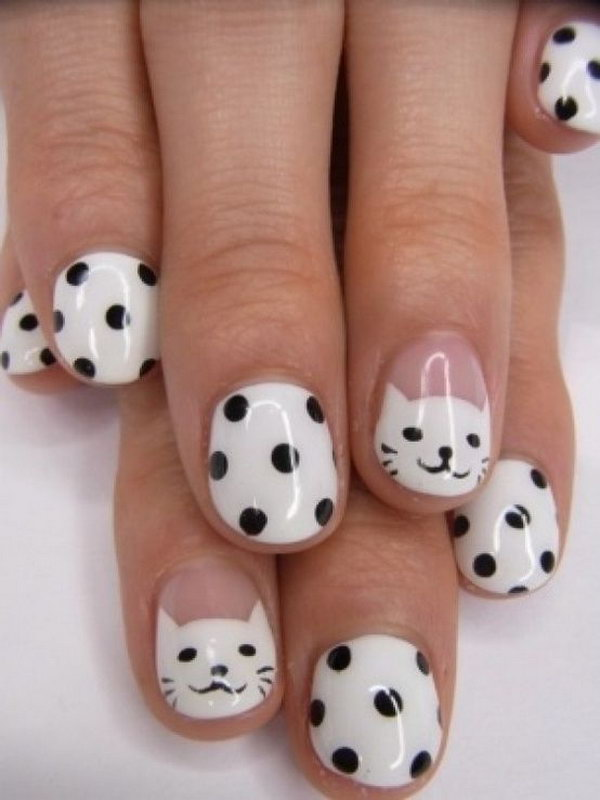 17 black and white nail art - Black and White Nail Art Designs – Perfect Match For Any Parties
