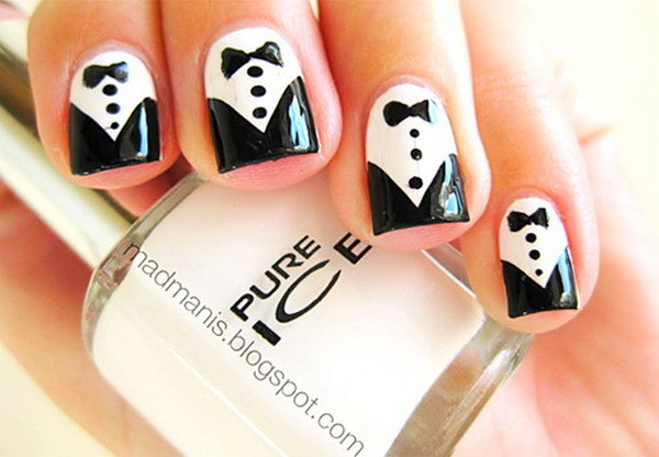 22 black and white nail art - Black and White Nail Art Designs – Perfect Match For Any Parties
