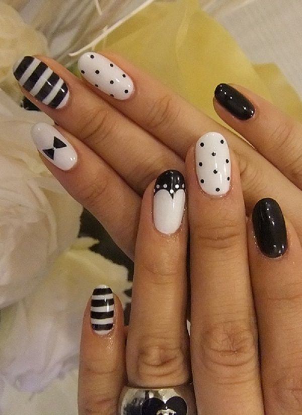 32 black and white nail art - Black and White Nail Art Designs – Perfect Match For Any Parties