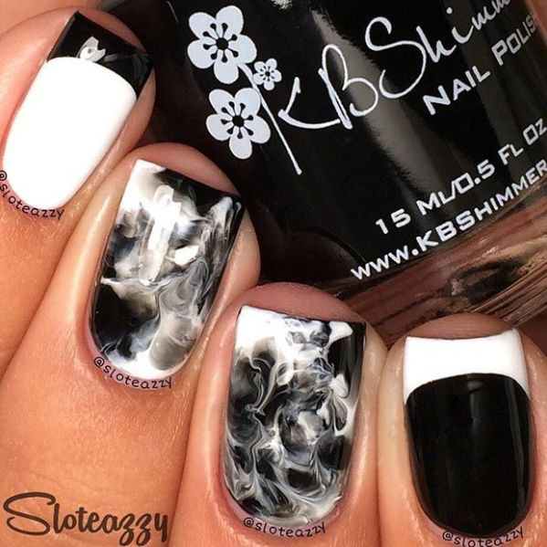 33 black and white nail art - Black and White Nail Art Designs – Perfect Match For Any Parties