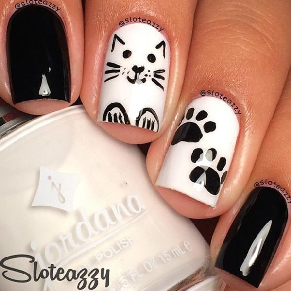 34 black and white nail art - Black and White Nail Art Designs – Perfect Match For Any Parties
