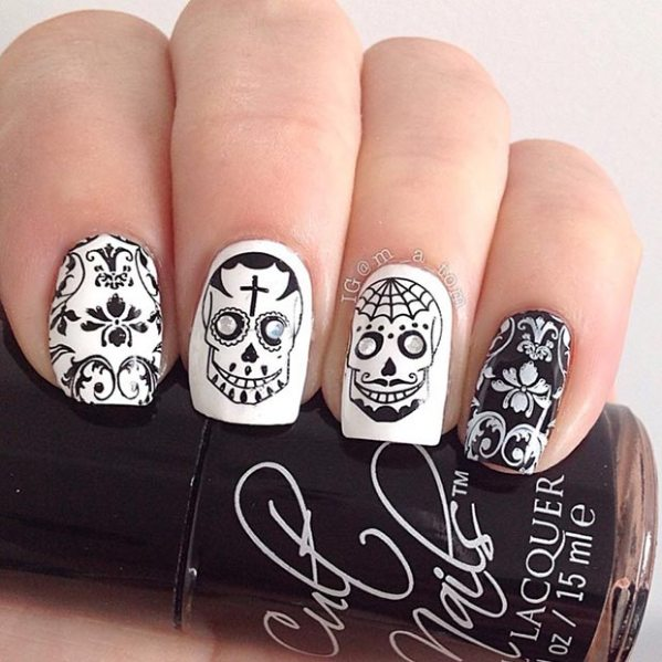 35 black and white nail art - Black and White Nail Art Designs – Perfect Match For Any Parties