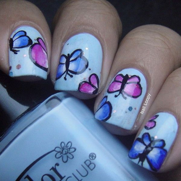 12 butterfly nail art designs - 30+ Pretty Butterfly Nail Art Designs