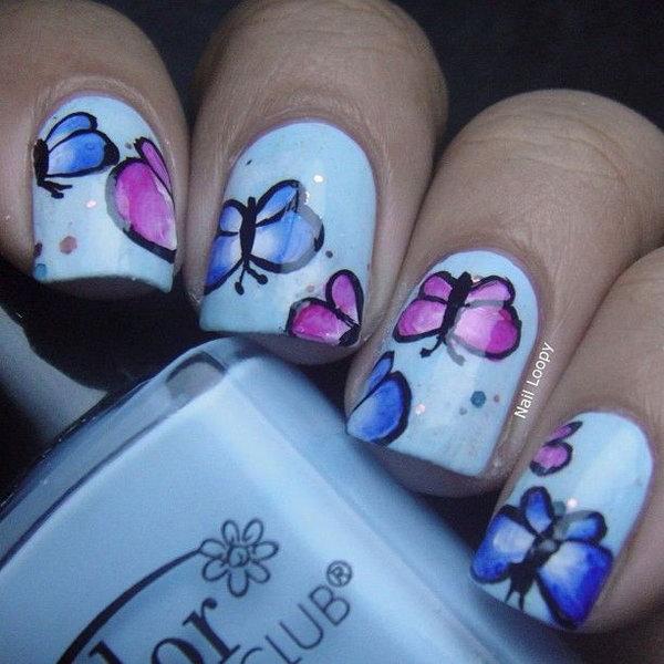 12 butterfly nail art designs - 30+ Pretty Butterfly Nail Art Designs