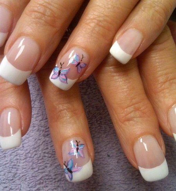 30 Pretty Erfly Nail Art Designs Spring French Tip Design