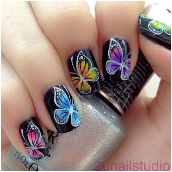 2 butterfly nail art designs - 30+ Pretty Butterfly Nail Art Designs