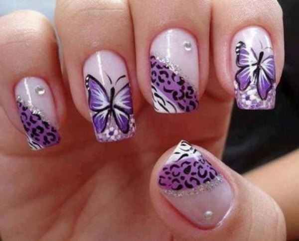 20 butterfly nail art designs - 30+ Pretty Butterfly Nail Art Designs