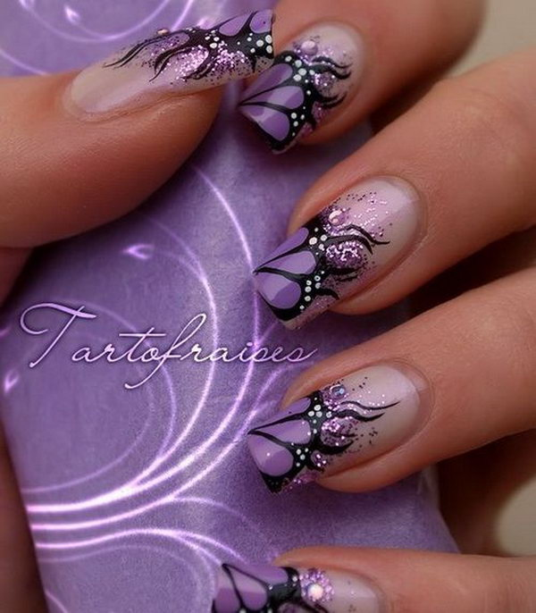 28 butterfly nail art designs - 30+ Pretty Butterfly Nail Art Designs