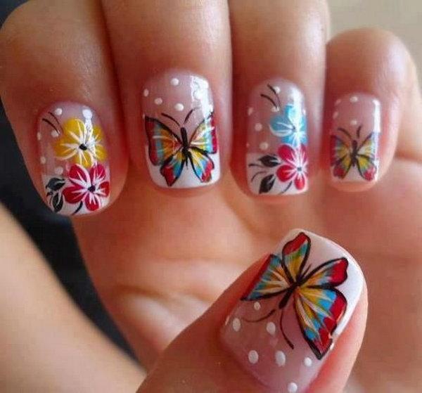 3 butterfly nail art designs - 30+ Pretty Butterfly Nail Art Designs