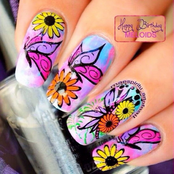 30 butterfly nail art designs - 30+ Pretty Butterfly Nail Art Designs