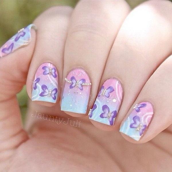 4 butterfly nail art designs - 30+ Pretty Butterfly Nail Art Designs