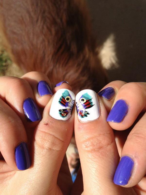 6 2 butterfly nail art designs - 30+ Pretty Butterfly Nail Art Designs