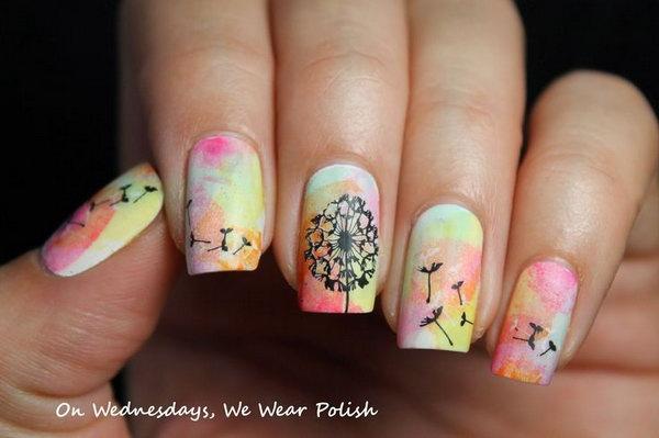 2 dandelion nail art - 40+ Cute Dandelion Nail Art Designs And Tutorials – Make a Dandelion Wish
