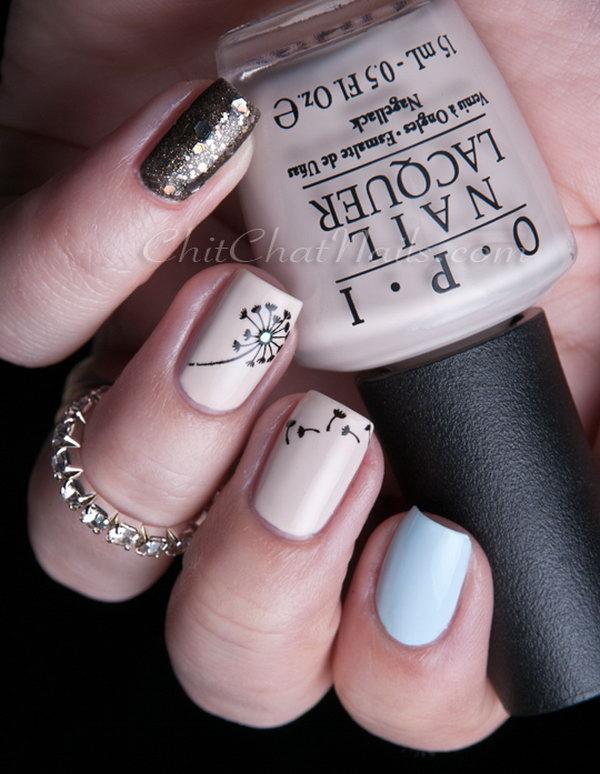21 dandelion nail art - 40+ Cute Dandelion Nail Art Designs And Tutorials – Make a Dandelion Wish