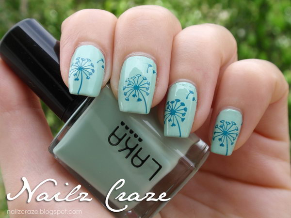 34 dandelion nail art - 40+ Cute Dandelion Nail Art Designs And Tutorials – Make a Dandelion Wish