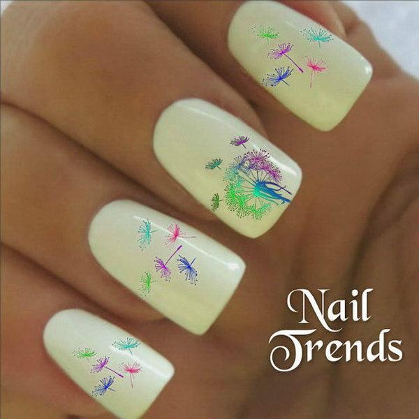 Rainbow Dandelion Nail Design
