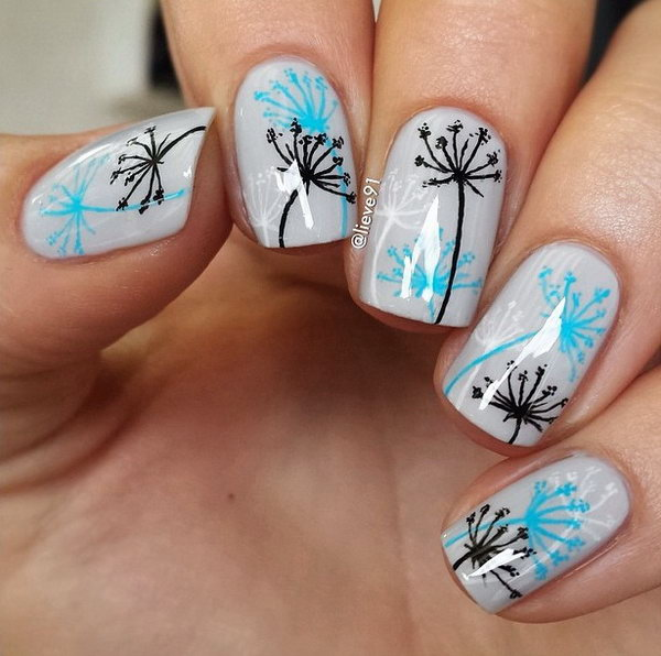 41 dandelion nail art - 40+ Cute Dandelion Nail Art Designs And Tutorials – Make a Dandelion Wish