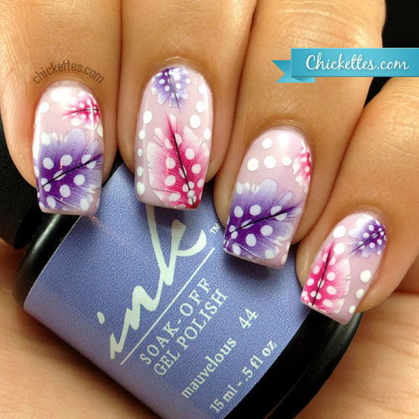 1 feather nail art - 40+ Pretty Feather Nail Art Designs And Tutorials