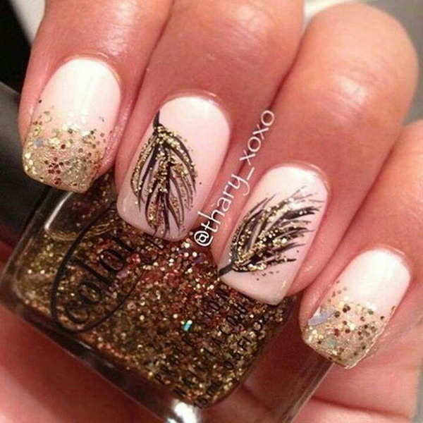 10 feather nail art - 40+ Pretty Feather Nail Art Designs And Tutorials