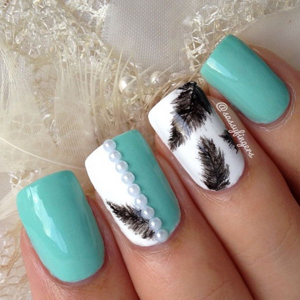 16 feather nail art - 40+ Pretty Feather Nail Art Designs And Tutorials