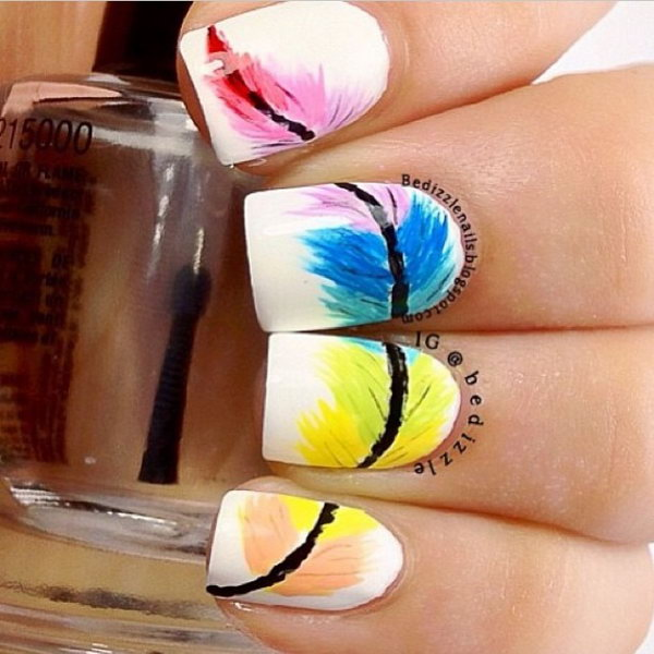 2 feather nail art - 40+ Pretty Feather Nail Art Designs And Tutorials