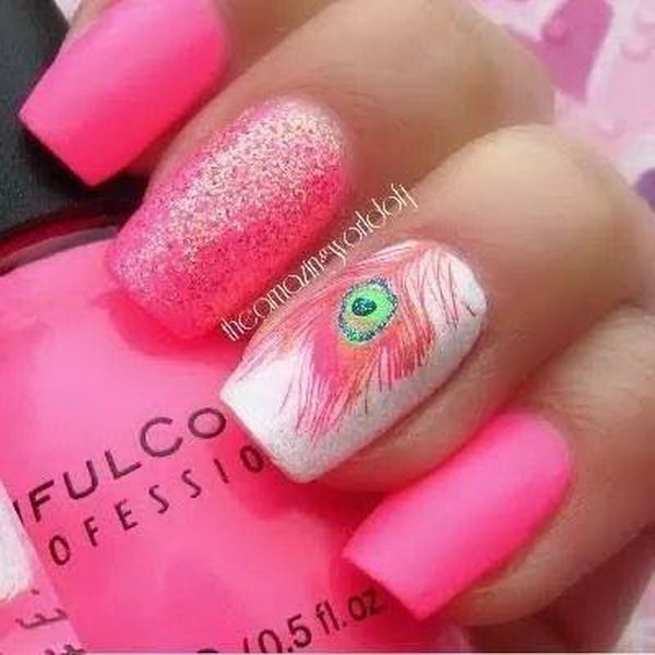 25 feather nail art - 40+ Pretty Feather Nail Art Designs And Tutorials