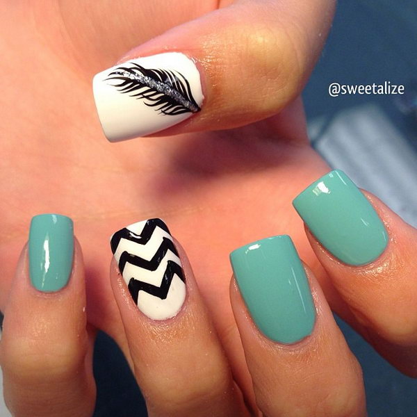 26 feather nail art - 40+ Pretty Feather Nail Art Designs And Tutorials
