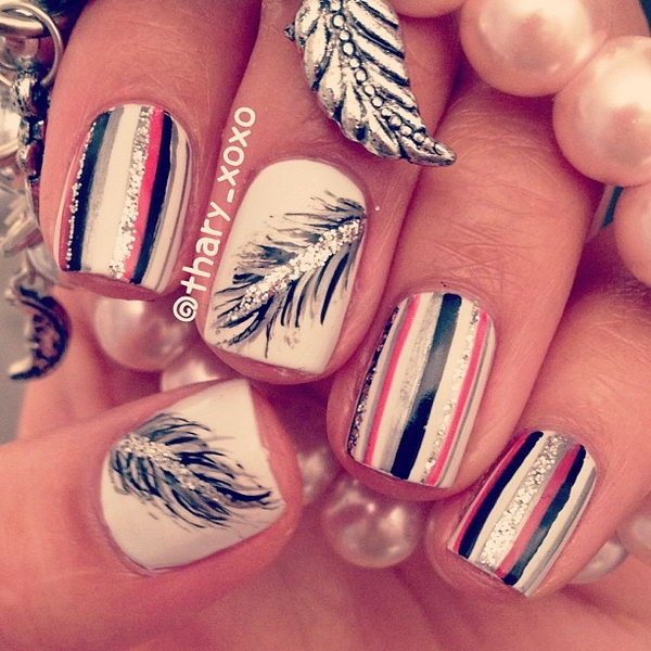 29 feather nail art - 40+ Pretty Feather Nail Art Designs And Tutorials