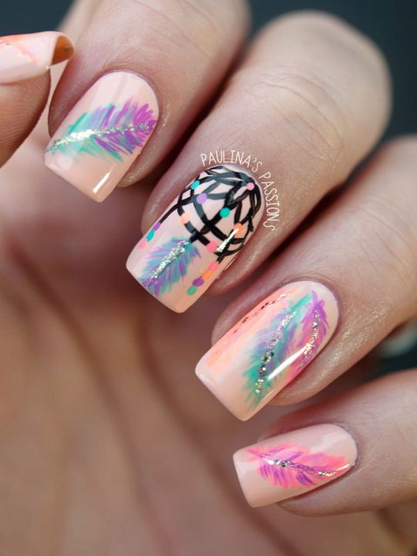 32 feather nail art - 40+ Pretty Feather Nail Art Designs And Tutorials