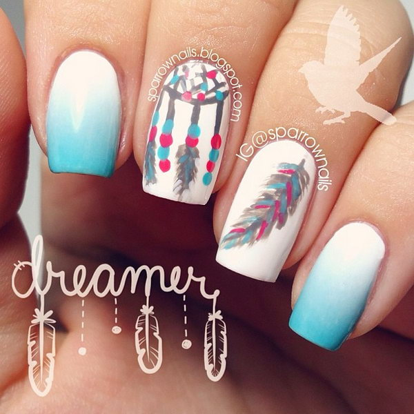 37 feather nail art - 40+ Pretty Feather Nail Art Designs And Tutorials