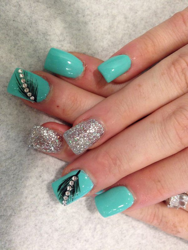 40 feather nail art - 40+ Pretty Feather Nail Art Designs And Tutorials