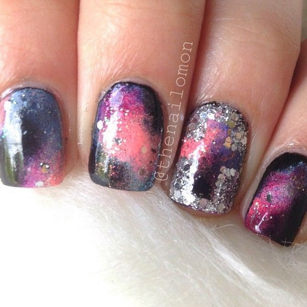 12 galaxy nail art - 50 Gorgeous Galaxy Nail Art Designs and Tutorials