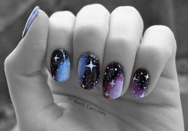 13 galaxy nail art - 50 Gorgeous Galaxy Nail Art Designs and Tutorials