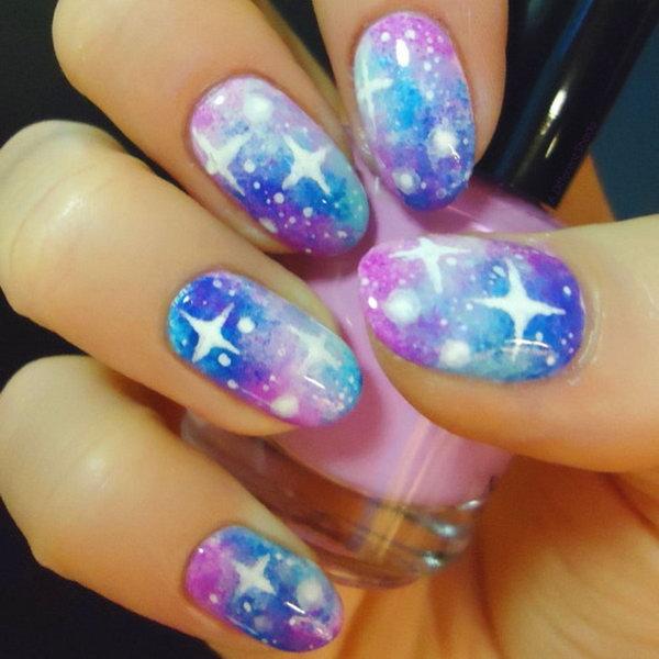 23 galaxy nail art - 50 Gorgeous Galaxy Nail Art Designs and Tutorials