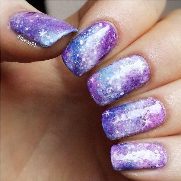 29 galaxy nail art - 50 Gorgeous Galaxy Nail Art Designs and Tutorials