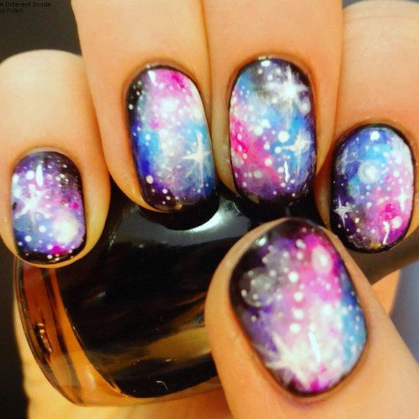 7 galaxy nail art - 50 Gorgeous Galaxy Nail Art Designs and Tutorials
