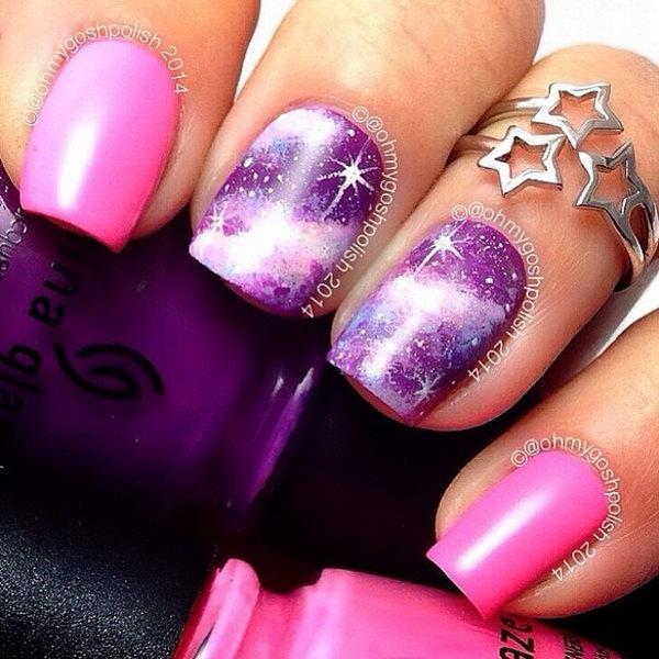 9 galaxy nail art - 50 Gorgeous Galaxy Nail Art Designs and Tutorials