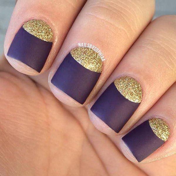 16 half moon nail art - 60+ Stunning Half Moon Nail Art Designs & Tutorials