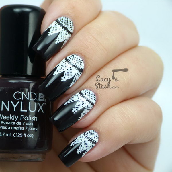 1 lace nail art - 60 Lace Nail Art Designs & Tutorials For You To Get The Fashionable Look