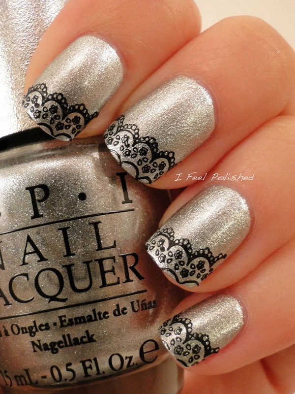 13 lace nail art - 60 Lace Nail Art Designs & Tutorials For You To Get The Fashionable Look