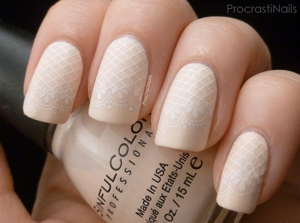26 lace nail art - 60 Lace Nail Art Designs & Tutorials For You To Get The Fashionable Look