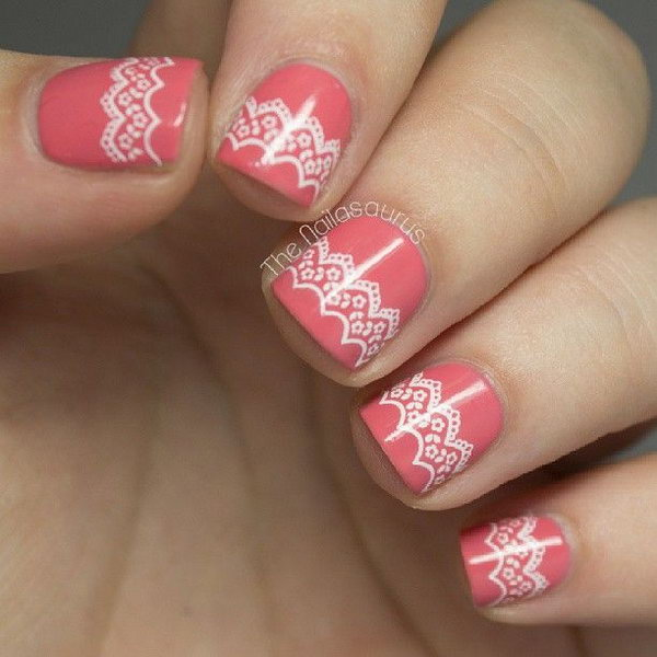 33 lace nail art - 60 Lace Nail Art Designs & Tutorials For You To Get The Fashionable Look
