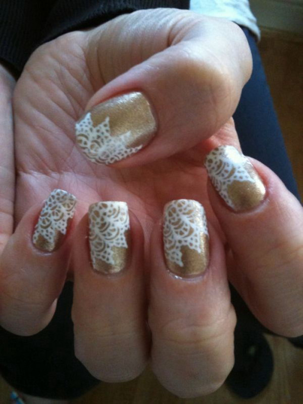 34 lace nail art - 60 Lace Nail Art Designs & Tutorials For You To Get The Fashionable Look
