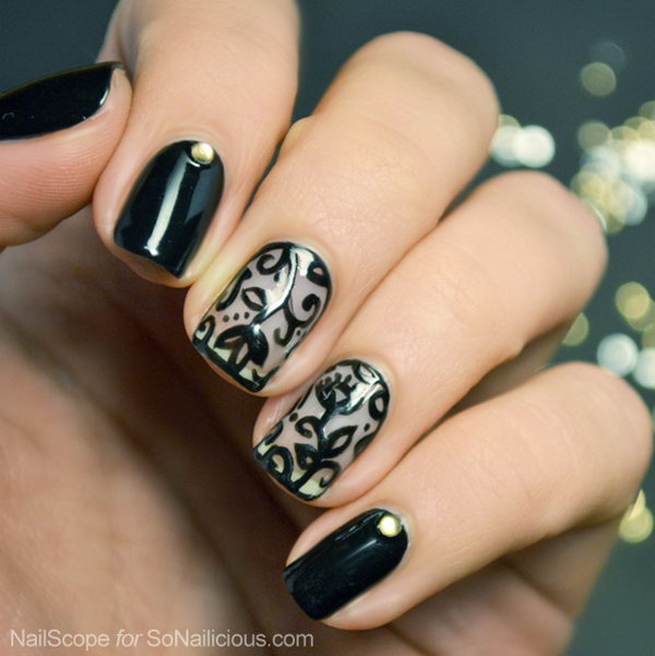 4 lace nail art - 60 Lace Nail Art Designs & Tutorials For You To Get The Fashionable Look