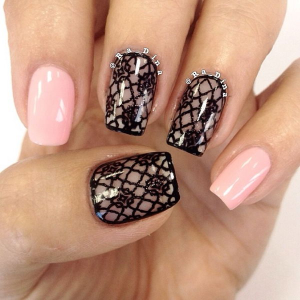 45 lace nail art - 60 Lace Nail Art Designs & Tutorials For You To Get The Fashionable Look